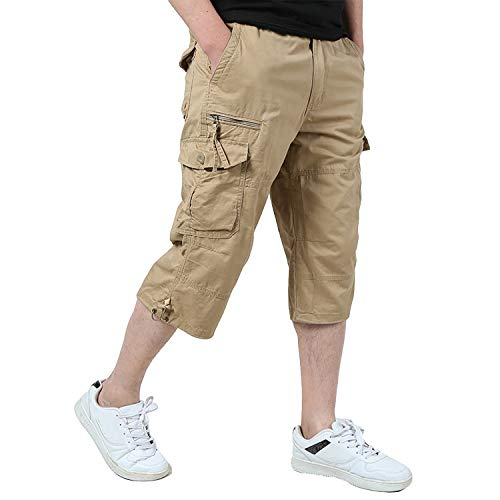 EKLENTSON Capri Pants for Men Relaxed Fit Military Shorts Clam Digger Pants 3/4 Pants Khaki
