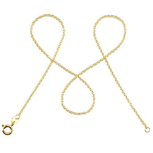 modabilé Damen Ankerkette Rund aus 333er Gold (42cm I 1,3mm breit) I Goldkette 333 ohne Anhänger I Zarte Halskette für Frauen I Echtgold Kette + Etui I Goldkettchen Produziert in Deutschland