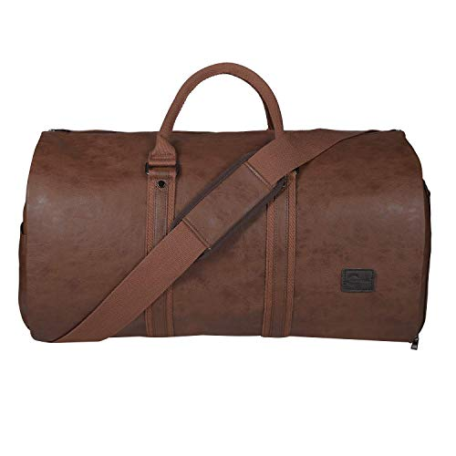Carry On Garment Bag, Mens Garment Bag for Travel Business, Large Leather Duffel Bag with Shoe Compartment -Brown