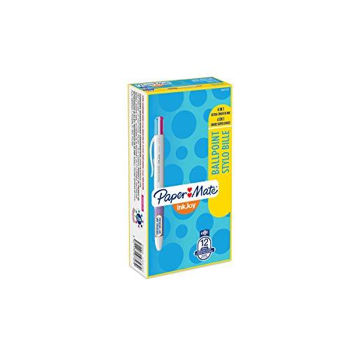 Papermate InkJoy Quatro 4-kleuren 1.0 mm Medium Tip Intrekbare Balpen Pack of 12 Verschillende leuke kleuren