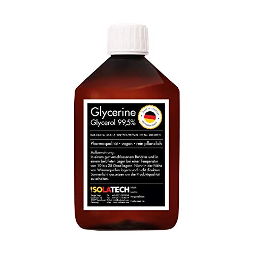 Glycerin 99,5% Pharmaqualität, rein Pflanzlich, Glyzerin Glycerol flüssig transparent (0,5L-Flasche (Inhalt 0,6kg))