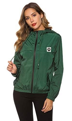 Damen Regenjacke Leichte Kurze Jacke Funktionsjacke Wasserdicht Winddicht Dünne Übergangsjacke Regenjacke [Dunkelgrün M]