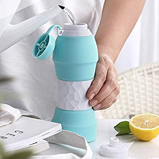Sunny's Products Collapsible Platinum Silicone Water Juice Bottle,  Reusable BPA Free,  580ml,  Hot and Cold Safe