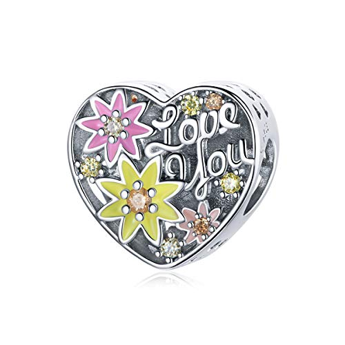 Love Heart Charm Beads 925 Sterling Silver Family Charm I Love You Mom Charm of Mother's Day Bead for Bracelets (Flowers Love Beads)