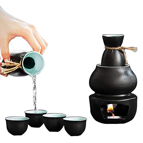 Xinmengjia Sake-Set mit Warmer-Traditionelle Töpferei Hot Saki Set 6-Piece inklusive Hip Flasche Wein Glas warmen Topf-Quaint Textur
