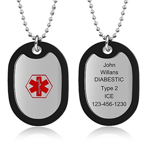 DaMei Colgante Hombre Personalizado Alerta Médica Placa Colgante Etiqueta de Perro Militar Hombre Collar Cadena de Bolas 56cm Chapas Militares Personalizadas