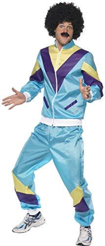 Smiffys 39298M 80er Hochmodischer Jogginganzug Kostüm, Blau, mit Jacke und Hose, M