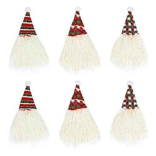 DONTHINKSO 6 piezas de Navidad Gnomo botella de vino cubiertas hechas a mano Tomte gnomo sueco botella de vino Toppers vacaciones comedor mesa decoración fiesta regalo