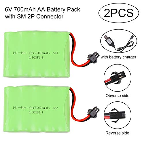 Crazepony-UK 2PCS Battery 6V 700mAh NI-Mh Akku SM 2P Plug Connector with USB Charging Cable for Remote Control Rc Cars Vehicles