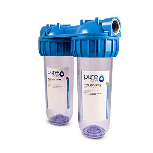 Hauswasserwerk Aussenfilter - Doppelfilter Leergehäuse Wasserfilter 10 Zoll für Brunnenwasser, Zisterne