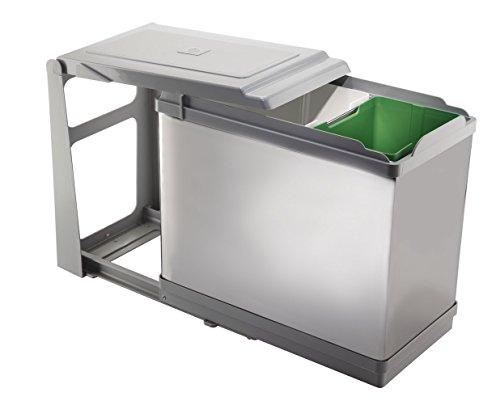 FELOMODE - Cubos de basura Tower PAL609 con tapa automática para el armario de la cocina, 16 + 10 L, 25 × 46 × 41 cm