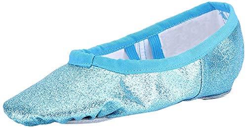 Ballettschuhe Mädchen Ballettschläppchen Ballett Schläppchen Kinder Gymnastikschuhe Damen Ballerina Tanzschuhe mit Geteilte Sohle Blau Gr.24