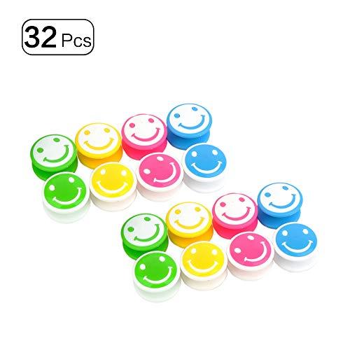 Whiteboard-Magnete, stark, niedlich, lustig, Kühlschrank-Magnete, Dekoration für Zuhause, Büro, Schule, Herzform, 32 Stück Smiley face