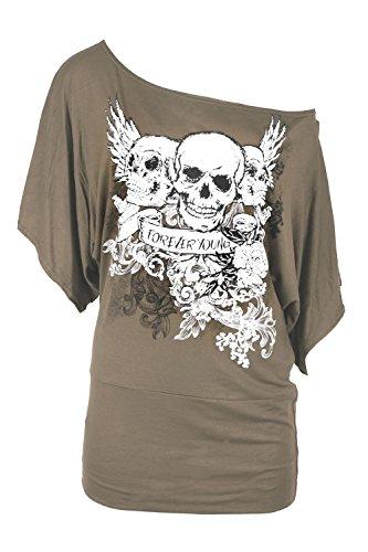 Oops Outlet - Camiseta - T Shirt - Manga muerciéago - para Mujer