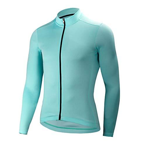 CATENA Men's Cycling Jersey Long Sleeve Shirt Running Top Moisture Wicking Workout Sports T-Shirt Blue