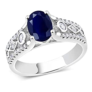 Gem Stone King 925 Sterling Silver Blue Sapphire Women's Engagement Ring 2.35 Cttw Gemstone Birthstone Oval Cut (Size 7)