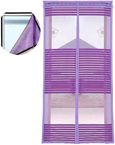 Puerta mosquitera, mosquitera magnética Puerta mosquitera cortina de malla Puerta magnética mosquitera, mosca súper fuerte90x200cm Violett