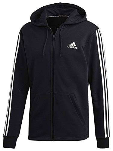 Adidas Must Have 3-Stripes French Terry Hoddie Men Sudadera con Capucha y Cremallera, Hombre, Negro (Black/White), S