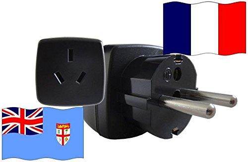 Urlaubs-Reisestecker mit Schutzkontakt für Frankreich 250 Volt Fidschi Reiseadapter