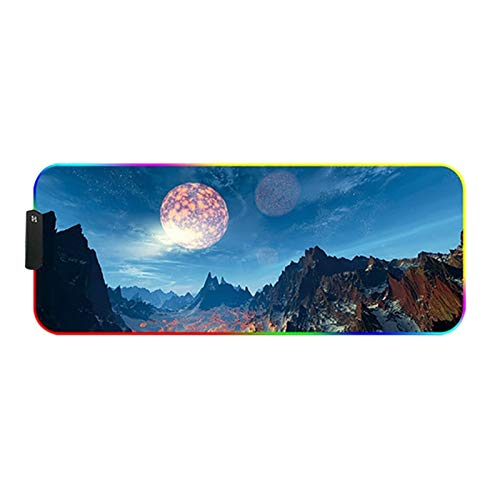 Gaming Mouse Pad Mouse Pad - Locking Large Luminous Anti-skid Gaming Gaming Mouse Pad Computer Large Large Mouse Carpet Desk RGB Pad Non-Slip Rubber Base (Color : 02, Size : 300x800mm)