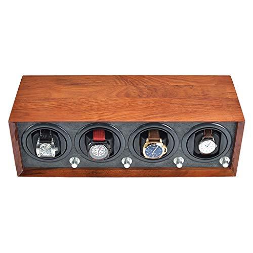 zyy 4+0 Madera Bobinadora para Relojes Automático, 5 Modos Giratorios, Relojes Devanado Caja De Presentación con Gary Pillow Adaptador AC O Batería