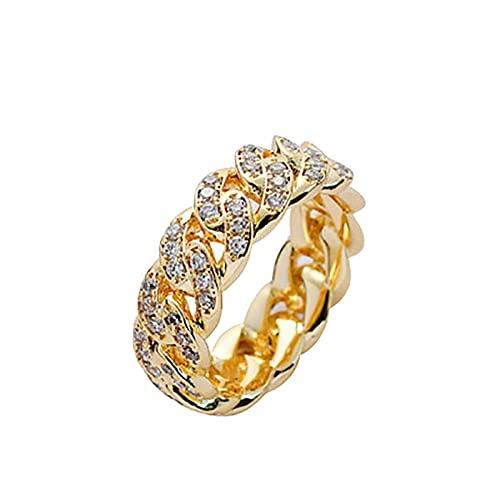minjiSF Anillo cubano, hip hop, para hombres y mujeres, con personalidad, cadena de circonita, anillo de motero, anillo de moda, único, accesorio creativo, regalo, anillo punk (oro A, 6)