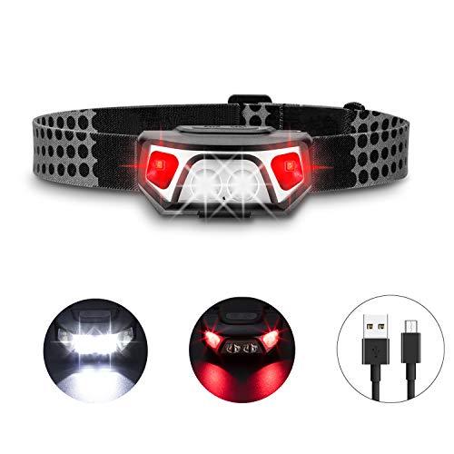 AKALE LED Stirnlampe, USB Wiederaufladbare LED Kopflampe, 5 Lichtmodi, 150LM, wasserdicht, 1200mAH