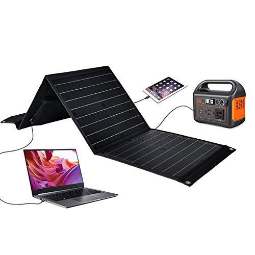 Panel Solar portátil Plegable de 60 W, Cargador Solar USB Dual - Cargador de teléfono con Panel Solar portátil para teléfonos Inteligentes iPhone y Android, iPad, tabletas