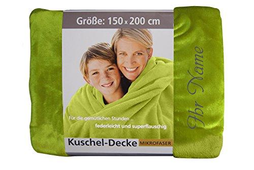 KringsFashion Premium Kuscheldecke 150 x 200 cm - Persönlich anpassbar mit Namen & Text - Hochwertige Decke aus 100 prozent Polyester - Tagesdecke-Farbe Grün-Stickfarbe wählbar