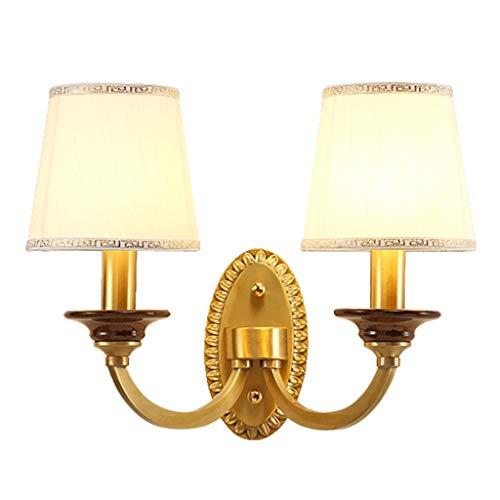 lámpara de pared Lámpara de pared doble Lámpara de pared con doble cabeza retro simple con pantalla de tela hecha a mano Salón Dormitorio Estudio Iluminación del pasillo (dorado) Iluminación de pared