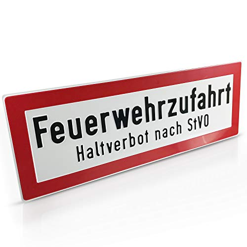 Betriebsausstattung24® Hinweisschild für die Feuerwehr Feuerwehrzufahrt Haltverbot nach StVO mit Freifeld für Siegel der Bauaufsichtsbehörde Größe (BxH): 59,4 x 21,0 cm Aluminium geprägt