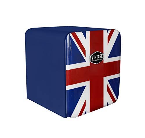 Vintage Industries ~ Mini Retro-Kühlschrank Miami 2018 Union Jack   Mini-Bar 50er Jahre Look   Größe: 50cm & 48l Volumen   höhenverstellbarer Tisch-Kühlschrank mit manueller Temperatureinstellung
