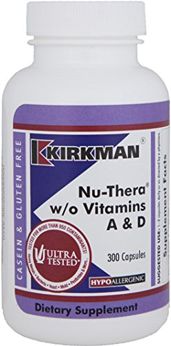 Kirkman Nu-Thera w/o Vitamins A & D - Hypoallergenic    300 Vegetarian Capsules    Multi Vitamin with Vitamin B-6    Tested for More Than 950 Environmental contaminants