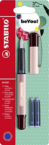 Stabilo BEFAB pluma estilográfica con 3cartuchos de tinta azul–arena/polvo de color rosa