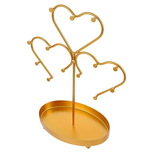 Veemoon Soporte de Exhibición de Joyería de Metal Soporte de Árbol de Joyería en Forma de Corazón Soporte de Organizador Torre de Suspensión para Pulsera Collar Pendientes Anillo