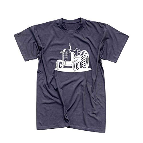 T-Shirt Traktor Oldtimer Trecker Landmaschinen Bauer 13 Farben Herren XS - 5XL Claas Fendt Deutz Landwirtschaft Landtechnik Unimog, Größe:L, Farbe:dunkelgrau - Logo Weiss