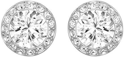Swarovski Women's Angelic Pierced Earrings, White, Rhodium plated, Medium