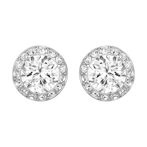 Swarovski Women\'s Angelic Stud Pierced Earrings, Set of White Swarovski Earrings with Rhodium Plating, part of the Swarovski Angelic Collection