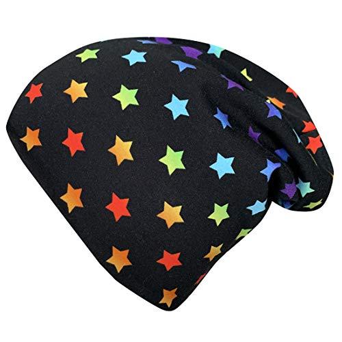 Wollhuhn ÖKO Jungen/Mädchen Mini Rainbow Stars Long-Beanie Ganzjährig Schwarz/Bunt Innen Uni Grau (aus Öko-Stoffen, Bio) 20191015 (XS: KU 42/46 (ca 6 Mon. bis 2 Jahre))