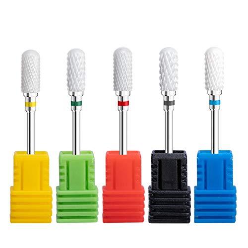 PrittUHU 5 unids Cerámica Nail bit bit Set Electric Manicure Drill Kit para Archivos de uñas Buffer Uñas Arte Equipo Accesorio Casa Salón de Salón (Color : Set 8)