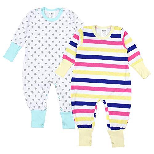 TupTam TupTam Baby Mädchen Schlafstrampler Gemustert 2er Pack, Farbe: Farbenmix 2, Größe: 86/92