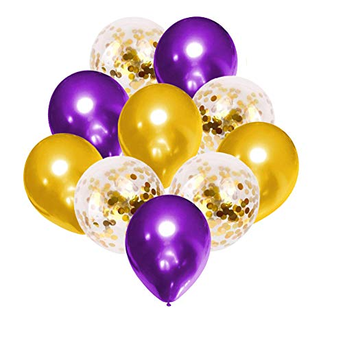 50PCS Purple Balloon Garland with Gold Confetti Balloons Kit, 12 Inch Premium Latex Balloons for Party Supplies, Great for Wedding Anniversary Baby Shower Birthday Festival Decorations