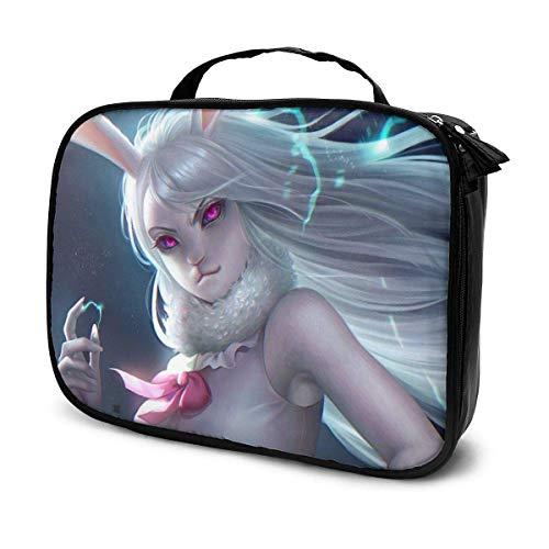 Anime - Zanahoria con cremallera, bolsa de maquillaje, portátil, multifunción, organizador de maquillaje para mujeres