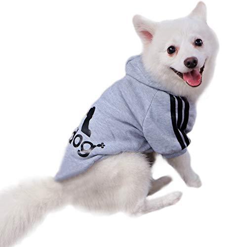Eastlion Adidog Hund Pullover Welpen-T-Shirt Warm Pullover Mantel Pet Kleidung Bekleidung, Grau, Gr. S