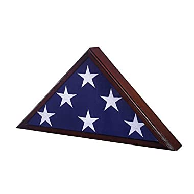 Flag Case for American Veteran Burial Flag 5 X 9- Cherry Finish
