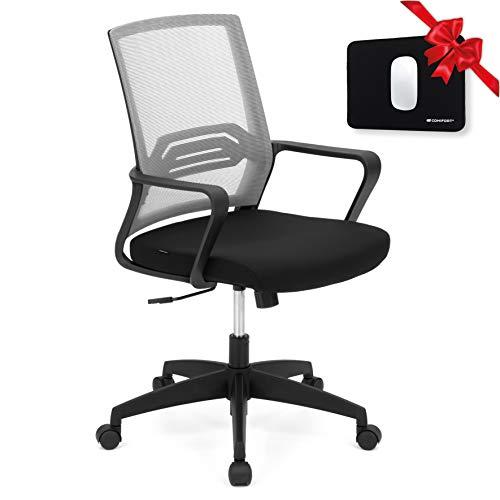 COMIFORT Chaise de Bureau Ergonomique avec Dossier Respirant - Chaise de Bureau Design Moderne et Fonctionnel avec Support Lombaire, siège rembourré et Rembourrage en Tissu, Pas Cher - Bird Grise