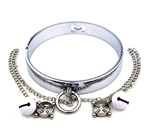 Body Waist Belt Chest Clip Stainless Steel Necklace Collar - Metal Dog Choker Leash Punk Rock Gothic Chain Harness - Fashion Neckband Body Cage with Lock and Key Bedroom Decorations Party Sling
