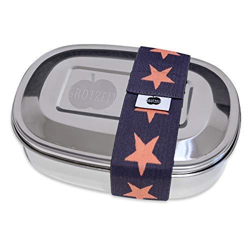 Brotzeit 16 x 12 x 4 cm, fiambrera mágica de acero inoxidable con banda de goma a elegir el color de la caja de acero inoxidable, fiambrera, fiambrera, fiambrera (estrellas, gris y naranja)