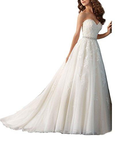 YASIOU Hochzeitskleid Standesamt Damen Vintage Lang Weiß Spitze Herzausschnitt mit Schleppe Brautkleid