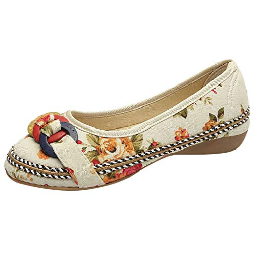 TUDUZ Damen Stickerei Pumps mit Bow, Nationaler Stil Schuhe Damen Sommer Sandalen Flach Schnürhalbschuhe Segelschuhe(C-Beige,40 EU)